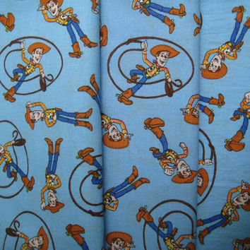 "Toy Story Fabric Woody Craft Material Clean Gently Used Blue Disney Cowboy 45"" wide x 2-1/4 yard"
