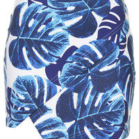 Blue Leaf Print Wrap Skirt