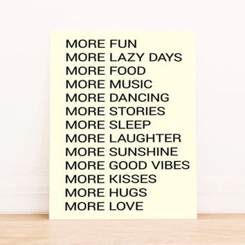 "Printable Art ""More Love"" in Black Typography Poster Home Decor Office Decor Poster"