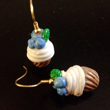 Blueberry Cupcake Earrings made with Sculpey clay