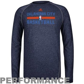 adidas Oklahoma City Thunder Practice Performance Long Sleeve T-Shirt - Navy Blue