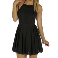 Black Halter Pleated