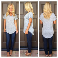 Joey V-Neck Tunic Tee - HEATHER GREY