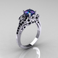 Classic 10K White Gold 2.0 Ct Chrysoberyl Alexandrite Black Diamond Solitaire Wedding Ring R203-10KWGBD2AL