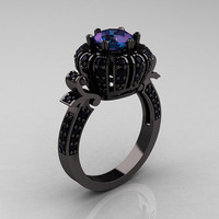 Classic Yeva 14K Black Gold 2.0 Ct Chrysoberyl Alexandrite Black Diamond Crown Bridal Solitaire Ring Y303H-14KBGBD2AL