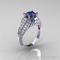 Edwardian 14K White Gold 2.0 Ct Chrysoberyl Alexandrite Diamond Engagement Ring R001-14KWGD2AL