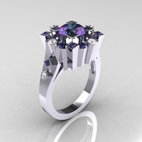 Classic 10K White Gold 2.0 Carat Color Change Alexandrite Diamond Wedding Ring AR108-10KWGD2AL