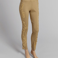 Brown Embellished Linen-Blend Leggings | zulily