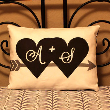 "12""x16"" Initials Pillow – Custom Pillow Original Design & Fabric -Personalized…"