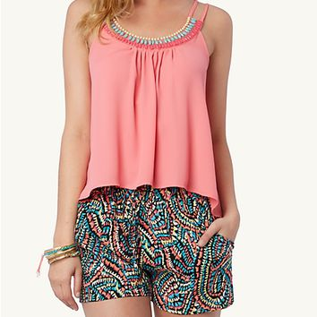 Tropical Beaded Yoke Cami