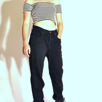 GRUNGE high waisted tapered black boyfriend jeans / size 28 29