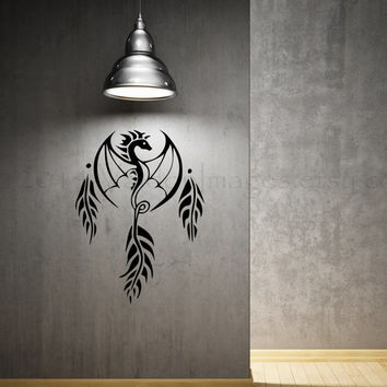 Dragon dream catcher wall decal, home decor, wall sticker, decal, wall graphic, vinyl decal, vinyl graphic decal, wall art