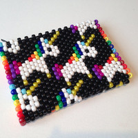 Unicorn Mini Clutch, Beaded Small Pouch, Kawaii Bag, Unicorn Purse