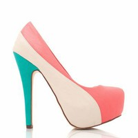 leather colorblock platforms in CORAL SEAGREEN - Heels | GoJane.com
