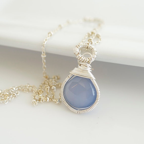 Blue Chalcedony Necklace Blue and Silver Necklace by Jewels2Luv