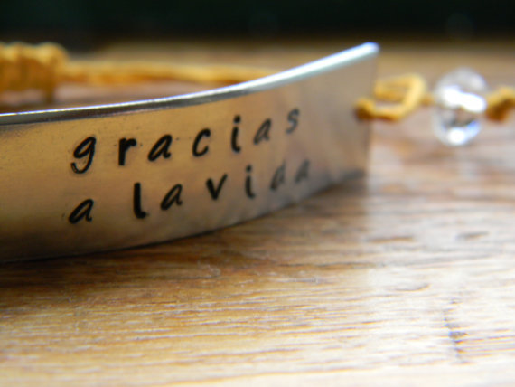 Gracias a la vida hand stamped bracelet Thanks by LindaMunequita
