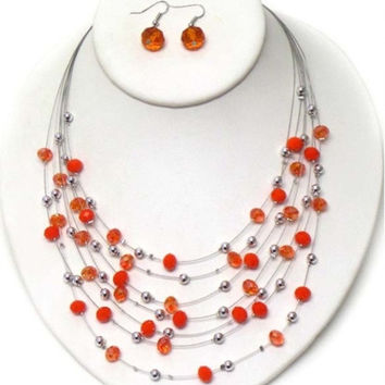 Orange Facet Stone Multi Layered Necklace/Earring Set