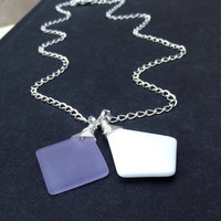 Lavender and White Sea Glass Necklace:  Radiant Orchid Purple Diamond Shaped Square Silver Chain Geometric Summer Beach Wedding Jewelry