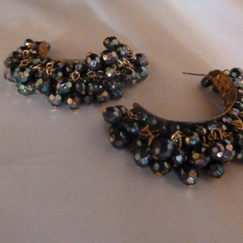 Vintage Metallic Luster Black Bead Gold  Hoop Earrings Costume jewelry