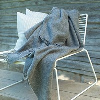 Plain Merino Wool Throw Grey Simone