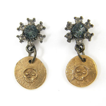 Skull Earring Stud - Mixed Metal Mini Skull Bronze Gunmetal Dark Rhinestone Earrings
