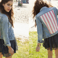 Stars & Bars Denim Jacket, Starry Chiffon Skirt
