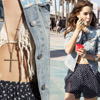 Stars & Bars Denim Jacket, Crochet Fringe Bikini, & Starry Chiffon Skirt