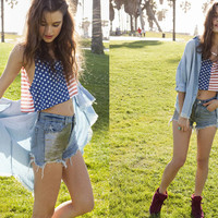 Cutoff Denim Shirt, Stars & Stripes Crop Top, & Chainmail Cutoff Shorts