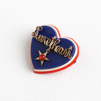 Vintage Patriotic Sweetheart Heart Pin - Gold Filled 1940s Wire Wrapped Rhinestone Star Red White and Blue Jewelry