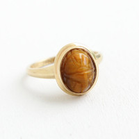 Vintage 10K Yellow Gold Tiger's Eye Scarab Ring - Size 5 1/4 Hallmarked PSCO Plainville Stock Co. Carved Beetle Brown Gem Fine Jewelry