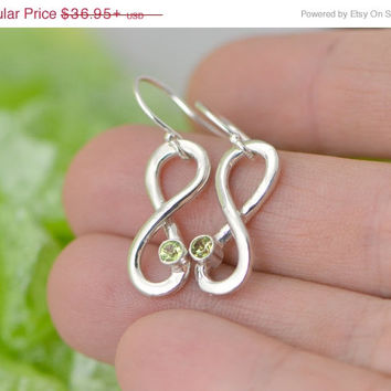 Christmas In July Infinity Birthstone Earrings - Infinity Earrings - Birthstone Jewelry - Gemstone Earrings - Birthstone Infinity