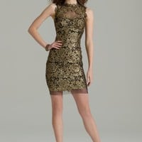 Metallic Lace Dress with Illusion Back