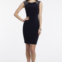 Short Jersey Dress with Beaded Shoulders