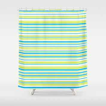 Stripes on white Shower Curtain by eDrawings38 | Society6