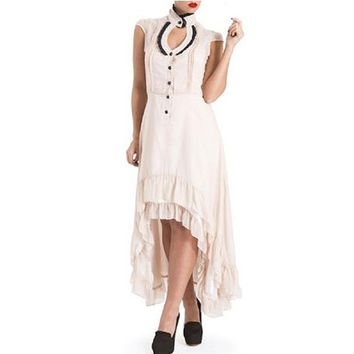 "Women's ""Hi Lo Gothic"" Ruffle Dress by Voodoo Vixen (Beige)"