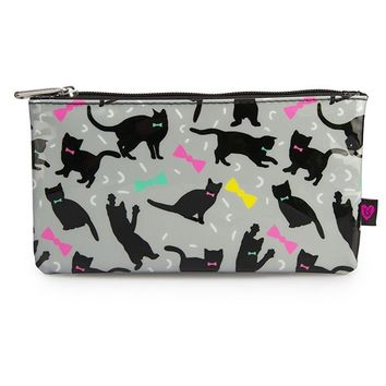"""Cats and Bows"" Pencil Case by Loungefly (Grey/Multi)"