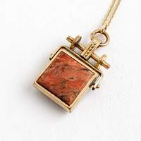 Antique Double Sided Agate Fob Necklace- Rose Gold Filled Victorian Gem Spinner Pendant Jewelry