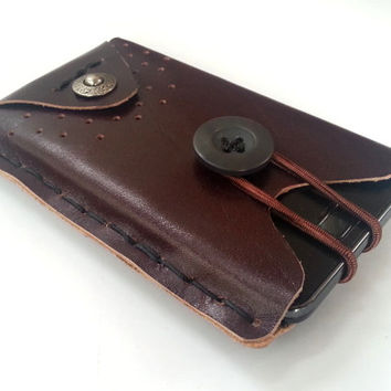 iphone 4 and iphone 5 case sleeve bag pouch pocket brown leather handmade