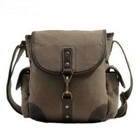 Medium Khaki canvas cross shoulder bags unisex