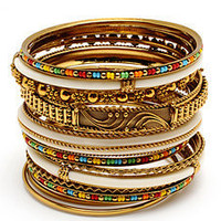 Amrita Singh Adreena Bangle Set in Gold Multi