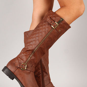 Pack-95 Quilted Buckle Riding Knee High Boot
