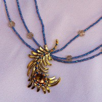 Handmade Peacock Feather Pendant Necklace  wBlue and Amber Crystals | peaceloveandallthingsjewelry - Jewelry on ArtFire