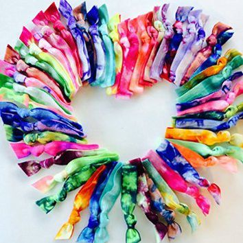 50 Tie Dye Hair Tie Ponytail Holder Collection Exclusively