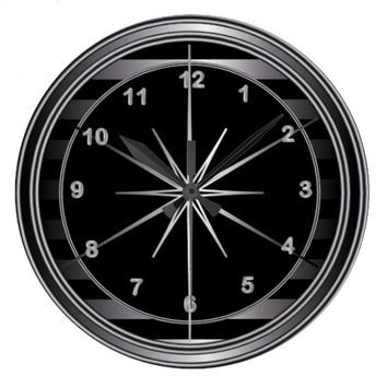 Classy Steel and Black Striped Wall Clock
