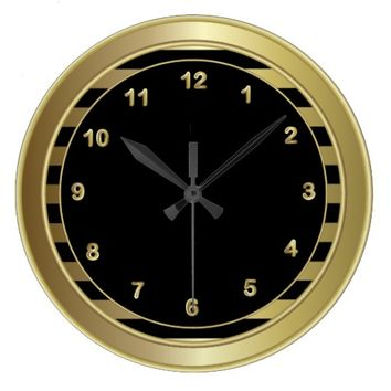 Classy Black / Gold Numbers and Stripes Wall Clock
