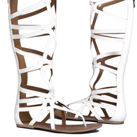 Heart Soul Cleopatra Gladiator Sandal in White