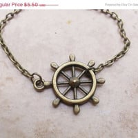SUMMER SALE Rudder wheel charm summer bracelet adorable bronze casual bracelet