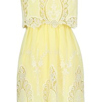 Lily Boutique Cute Yellow Embroidered Dress, Yellow Embroidered Strapless Dress, Bohemian Embroidered Dress, Cute Juniors Dress, Spring Dress, Delicate and Dreamy Crochet Embroidered Dress in Yellow Lily Boutique