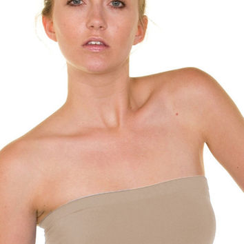 Essential Seamless Bandeau Tube Top (Khaki) | Verona