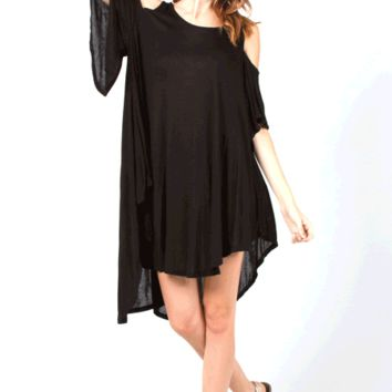 Featuring super soft knit oversize design, scoop neckline, cutout shoulder, short sleeves, asymmetrical hem.
